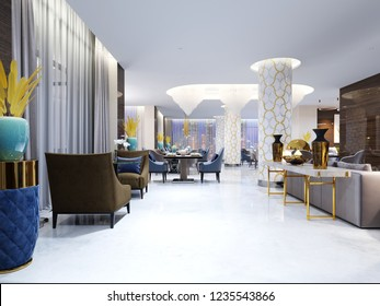 Restaurant and lounge area in a modern hotel. 3d rendering