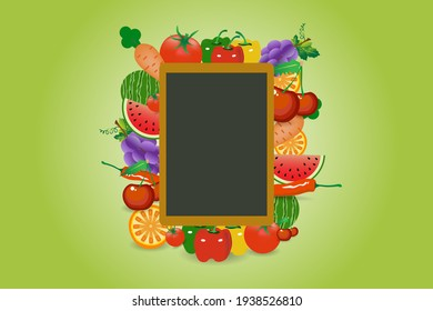 Restaurant menu board with fruits and vegetables.  Vector illustration on the green gradient background