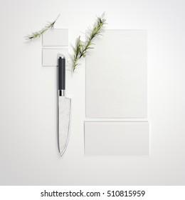 Restaurant mockup with sharp knife on bright floor. 3d rendering