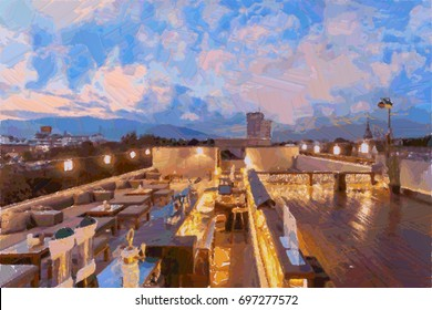A restaurant on rooftop in the evening, oil color painting,Illustrator