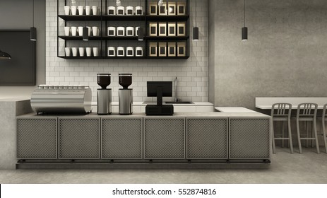 Restaurant & Shop design modern - 3D render