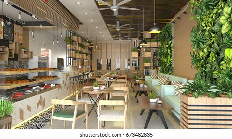 Restaurant & Shop interior design modern - 3D render