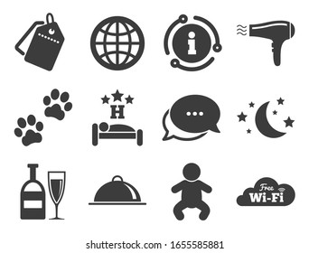 Restaurant sign. Discount offer tag, chat, info icon. Hotel, apartment service icons. Alcohol drinks, wi-fi internet and sleep symbols. Classic style signs set.