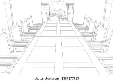 restaurant, summer terrace, 3D illustration, sketch, outline