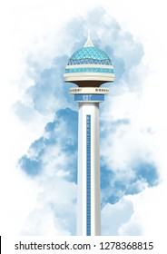 Restaurant Tower in Ankara (Atakule) symbol of ankara illustration
