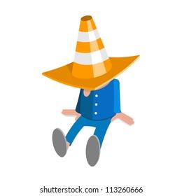 Resting worker, traffic cone, illustration