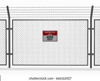 restricted area with barbed wire 3d rendering