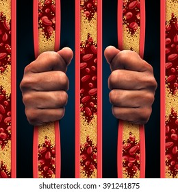 Restricted by cholesterol as a confined person behind prison bars made of clogged artery and atherosclerosis disease arteries as a medical concept with blood cells that is blocked by plaque buildup.