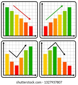 Results graphs going up and down (concept for growth or slump)