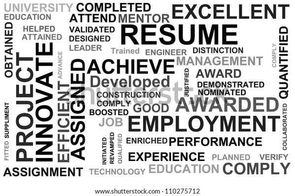 resume powerful words illustration high resolution stock