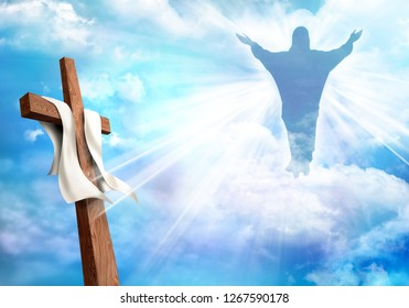 Resurrection. Christian cross with risen Jesus Christ and clouds sky background. Life after death