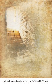 Resurrection of Jesus Christ. Religious Easter background, with strong light rays shining through the entrance into the empty stone tomb. Artistic background with copy space for text