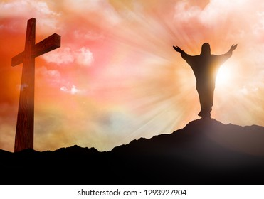 Resurrection. Jesus Christ silhouette. Christian Easter concept. Sunset with rays of light. 3d illustration
