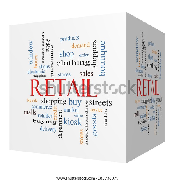 Retail 3D cube Word Cloud Concept with great terms such as stores, shopping, sales and more.