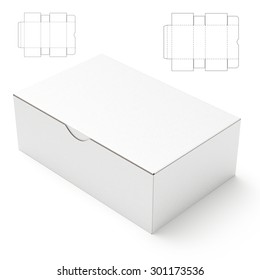 retail package box with blueprint template 3d rendering ez canvas