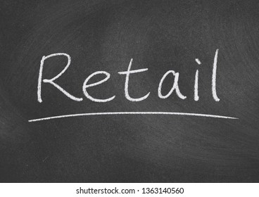 retail concept word on blackboard background