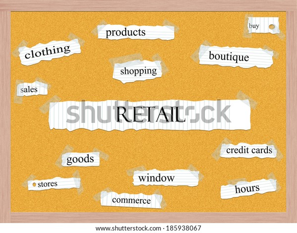 Retail Corkboard Word Concept with great terms such as products, boutique, sales and more.