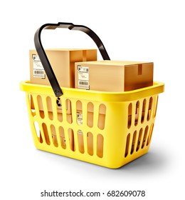 Retail industry concept, yellow plastic shopping basket full of purchases in cardboard boxes, isolated on white, 3d illustration