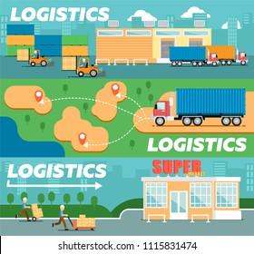 Retail logistics and distribution poster. Freight trucking service, warehousing and storage management. Goods delivery infographics, cargo shipping business illustration in flat style.