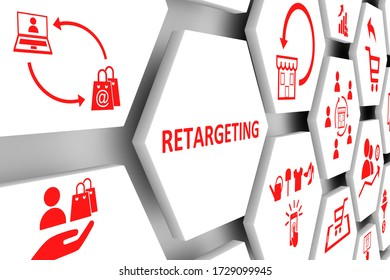 RETARGETING concept cell background 3d illustration