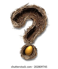 Retirement nest egg questions and savings as a financial planning business concept with a bird nest metaphor shaped as a question mark with a golden egg on a white background.