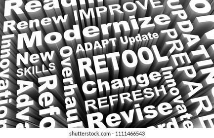 Retool Update Modernize New Innovation Words 3d Illustration