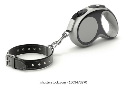 Retractable dog leash with leather dog collar on white background - 3D illustration