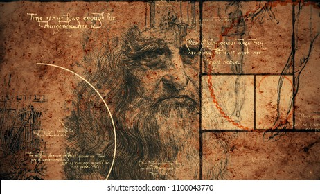 A retro 3d rendering of code Da Vinci with the portrait of the world known master in his old age, a human leg, some construction and short texts written in the englh language.
