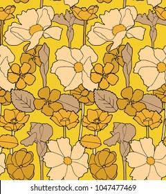 Retro 60s Hand Drawn Flower Seamless Pattern