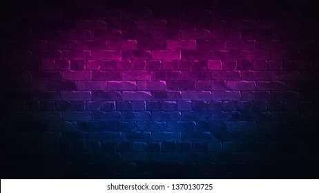 Retro 80s abstract advertising with colorful brick wall background neon for concept design. Background pattern. Blue abstract background. Black, purple. 3d illustration