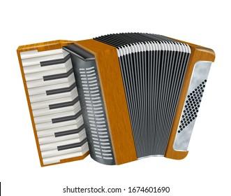 Retro accordion on white background. 3 d-Illustration