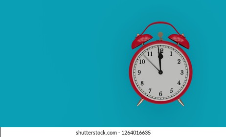 Retro alarm clock with five minutes to twelve o'clock. Hight resolution 3d illustration render