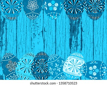 Retro aqua turquoise blue hires wood texture abstract background illustration with monochromatic decorated Easter eggs, weathered wooden boards and pastel faded peeling paint.