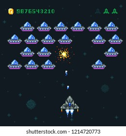 Retro arcade game screen with pixel invaders and spaceship. Space war computer 8 bit old graphics