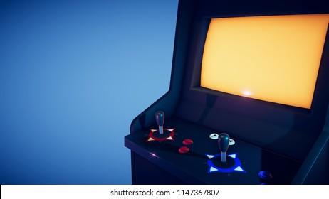 Retro Arcade Machine 3D Render