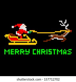 retro arcade video game style pixel art christmas santa claus in sleigh with merry xmas message - Merry Christmas Games