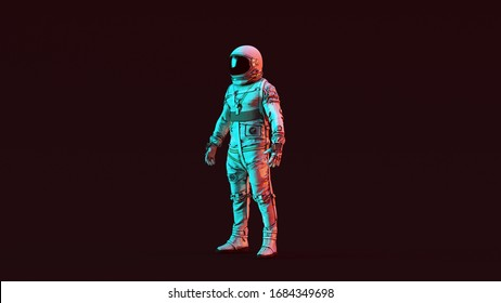 Retro Astronaut White Spacesuit with Red and Blue Moody 80s lighting 3 Quarter Left View 3d illustration 3d render