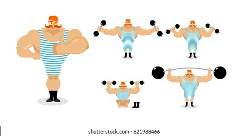 Retro athlete set poses. Ancient bodybuilder with red mustache emotions. Sportsman in striped suit, and good evil. Sad and happy Strong circus performer. Aggressive and surprised