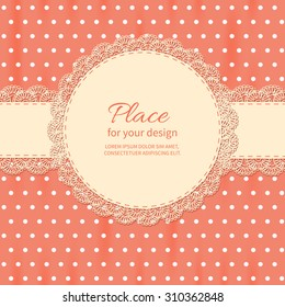 Retro Background With Lace And Polka Dot Wallpaper