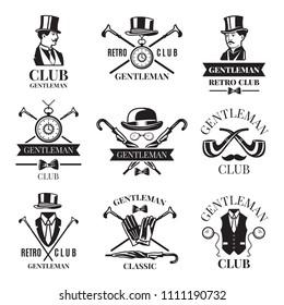 Retro badges or labels set for gentleman club. Logos design template with place for your text. Gentleman logo club, label vintage emblem elegant and fashion. illustration