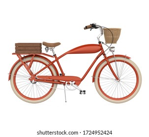 Retro Bicycle Isolated (side view). 3D rendering