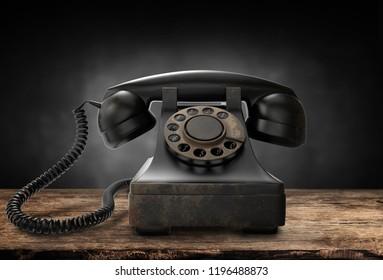 Retro black telephone, 3d illustration