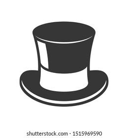 Retro Black Top Hat Icon on White Background.