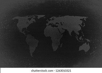 Retro black and white halftone world map