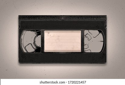 A retro blank old black VHS video tape illustration background with copy space