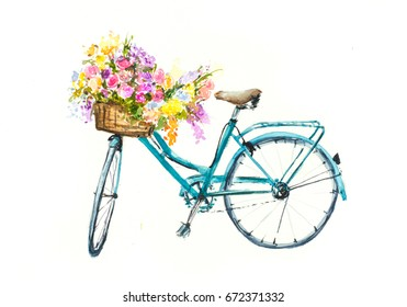 Retro blue bicycle with flowers in basket on white isolation, watercolor hand draw on paper
