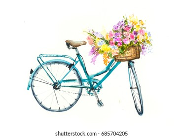Retro blue bike with flowers in basket  on white isolation, Bike watercolor painting