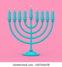 Retro Blue Hanukkah Menorah with Burning Candles Duotone on a pink background. 3d Rendering
