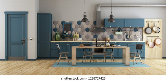 Retro blue kitchen with wooden dining table, chairs and closed door - 3d rendering