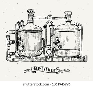 Retro brewery engraving. Copper tanks and barrels in brewery beer. Local brewery. Vintage engraving illustration for web, poster, label, invitation to oktoberfest festival, party. illustration.